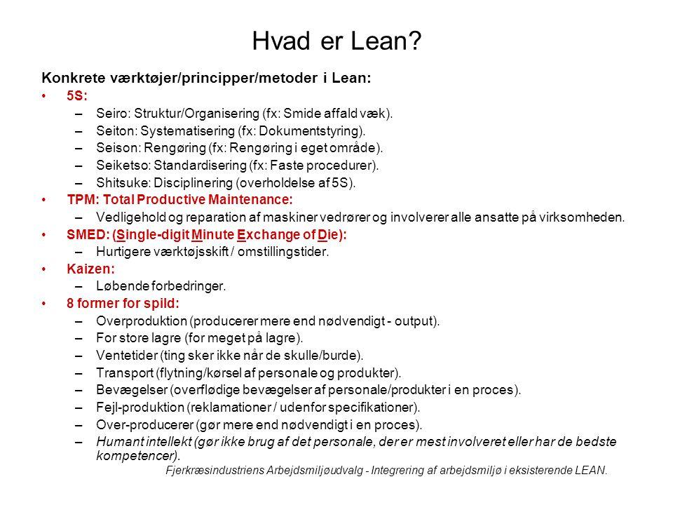 Hvad er Lean Konkrete værktøjer/principper/metoder i Lean: 5S: