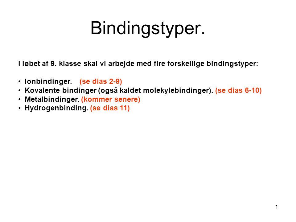 Bindingstyper. I løbet af 9. klasse skal vi arbejde med fire forskellige bindingstyper: Ionbindinger. (se dias 2-9)