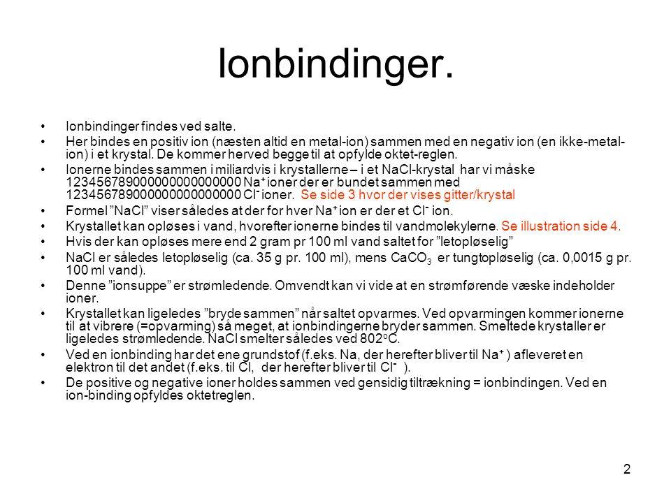 Ionbindinger. Ionbindinger findes ved salte.