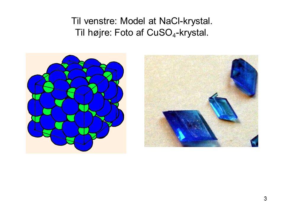 Til venstre: Model at NaCl-krystal. Til højre: Foto af CuSO4-krystal.