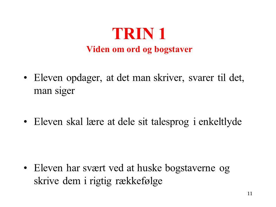 TRIN 1 Viden om ord og bogstaver