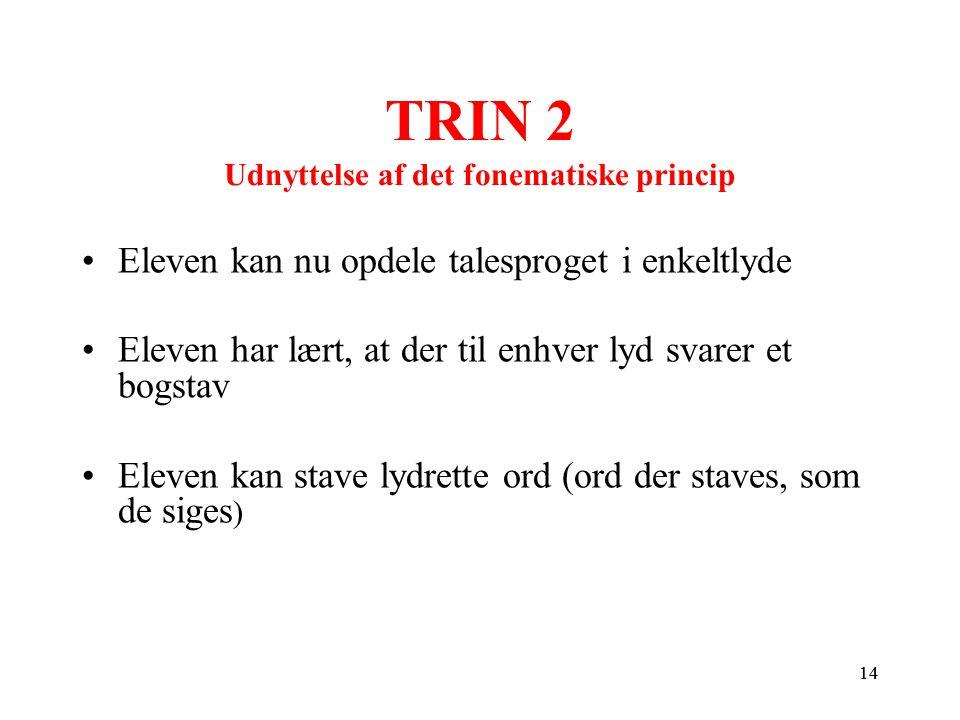 TRIN 2 Udnyttelse af det fonematiske princip