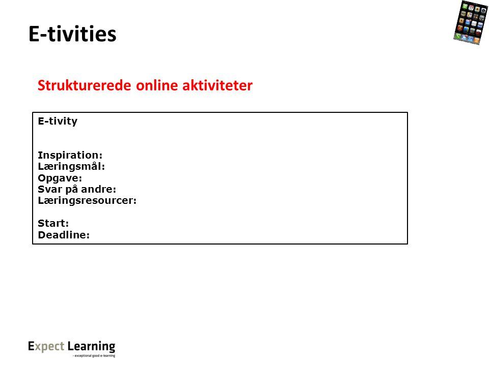 E-tivities Strukturerede online aktiviteter E-tivity Inspiration: