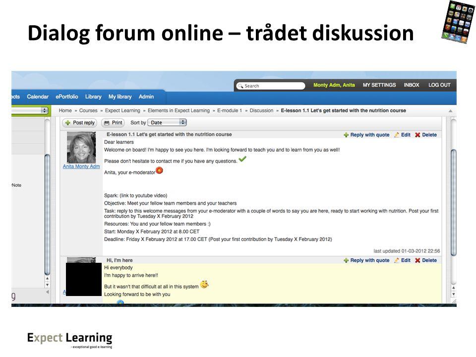 Dialog forum online – trådet diskussion