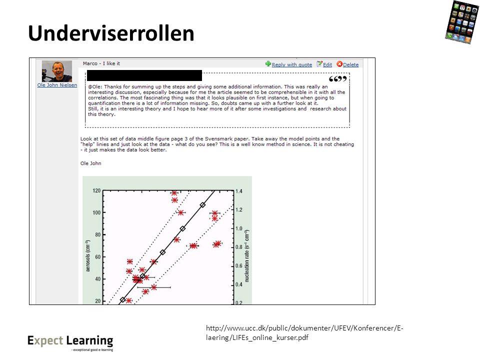 Underviserrollen http://www.ucc.dk/public/dokumenter/UFEV/Konferencer/E-laering/LIFEs_online_kurser.pdf.