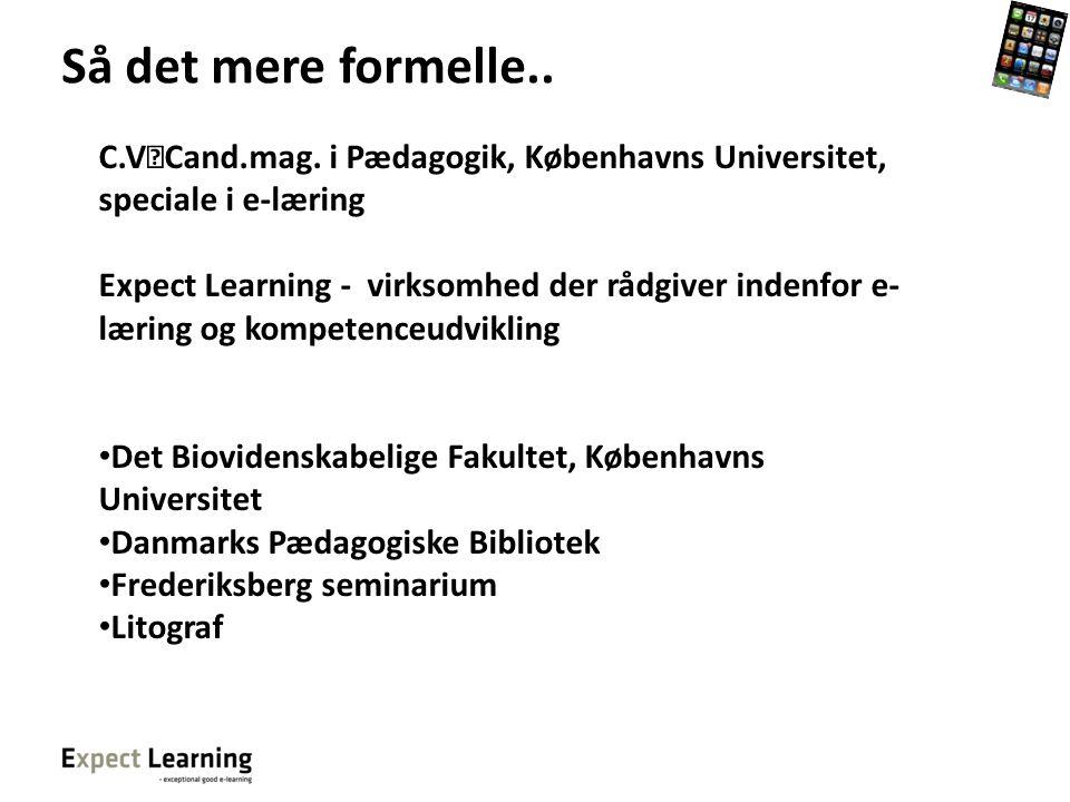 Så det mere formelle.. C.V Cand.mag. i Pædagogik, Københavns Universitet, speciale i e-læring.