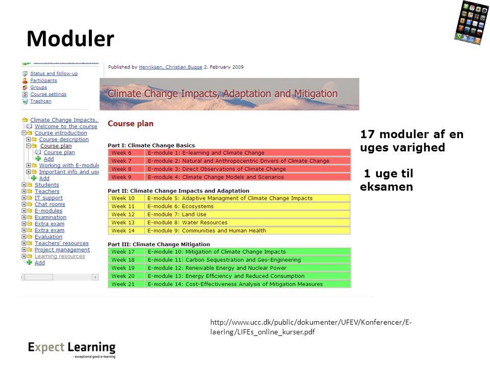 Moduler 17 moduler af en uges varighed 1 uge til eksamen
