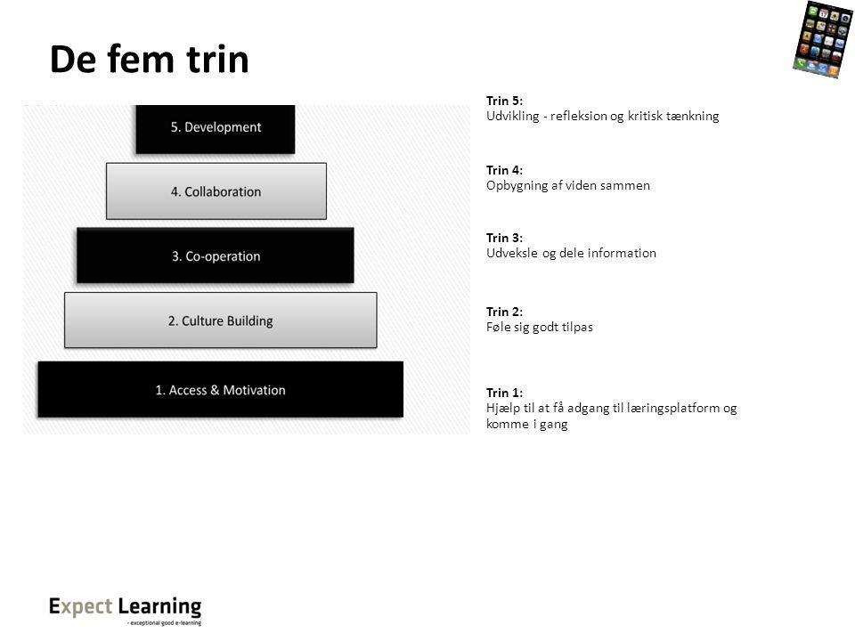 De fem trin Trin 5: Udvikling - refleksion og kritisk tænkning Trin 4: