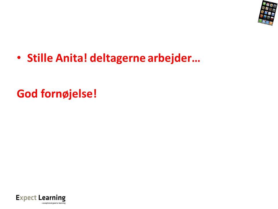 Stille Anita! deltagerne arbejder…