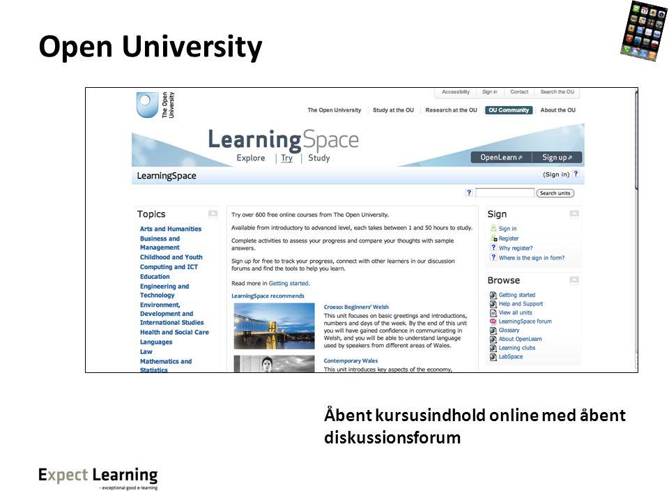 Open University Åbent kursusindhold online med åbent diskussionsforum