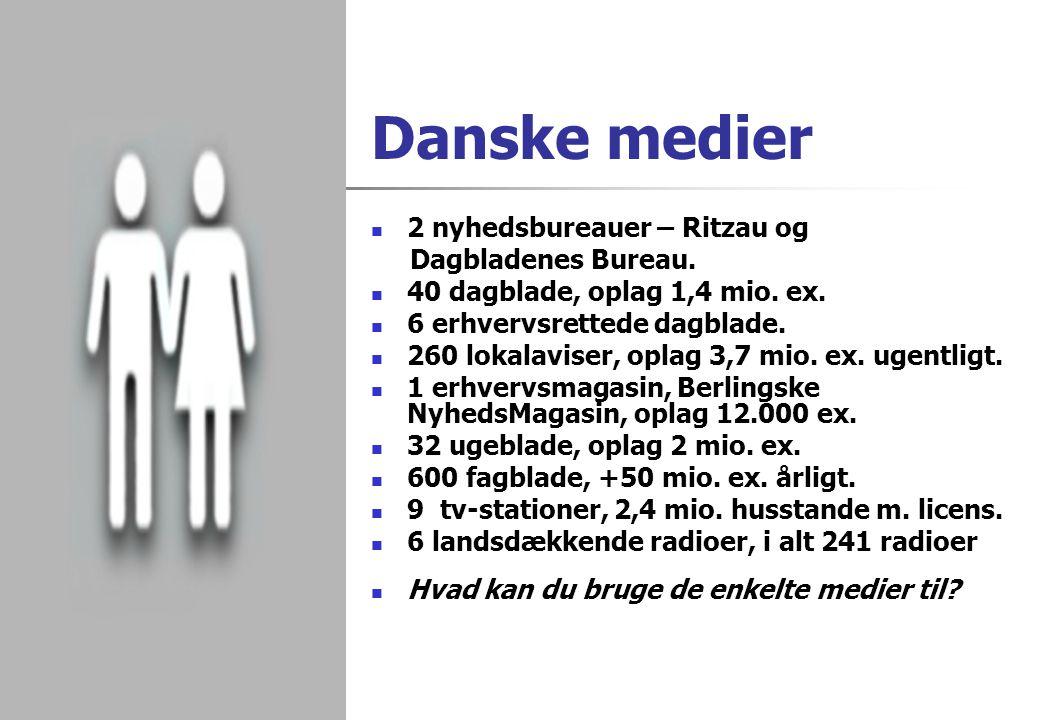 Danske medier 2 nyhedsbureauer – Ritzau og Dagbladenes Bureau.
