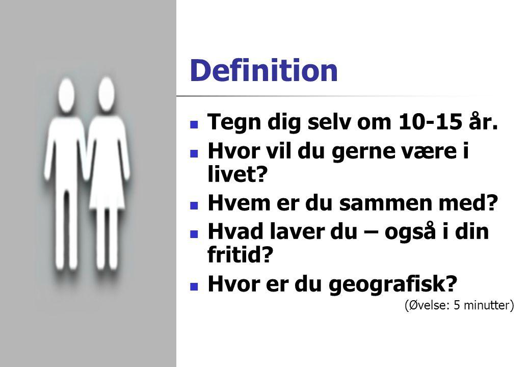 Definition Tegn dig selv om 10-15 år. Hvor vil du gerne være i livet