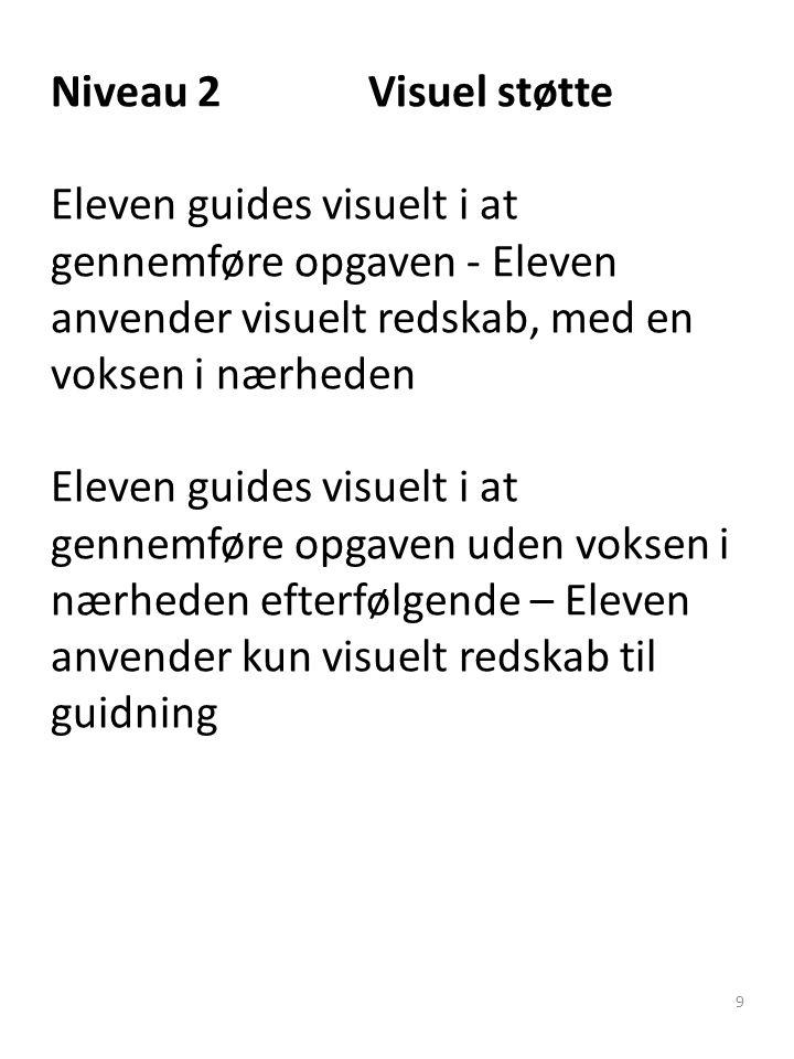 Niveau 2 Visuel støtte Eleven guides visuelt i at gennemføre opgaven - Eleven anvender visuelt redskab, med en voksen i nærheden Eleven guides visuelt i at gennemføre opgaven uden voksen i nærheden efterfølgende – Eleven anvender kun visuelt redskab til guidning