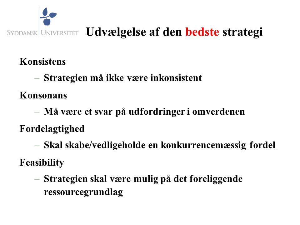 Udvælgelse af den bedste strategi