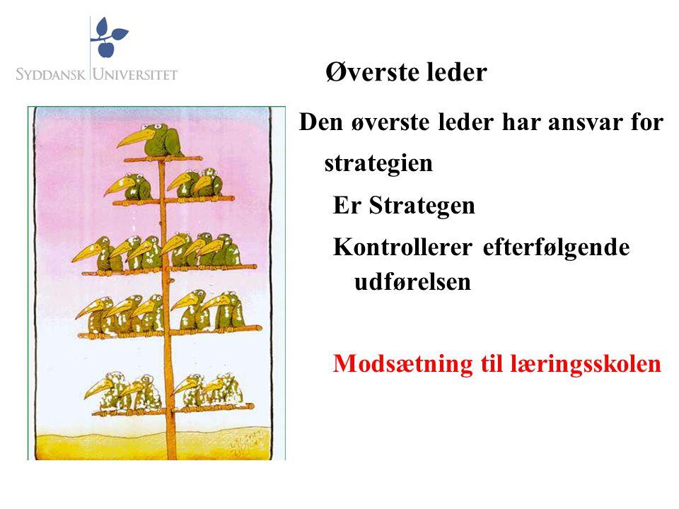 Øverste leder Den øverste leder har ansvar for strategien Er Strategen