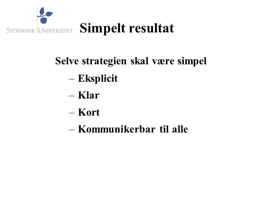 Simpelt resultat Selve strategien skal være simpel Eksplicit Klar Kort