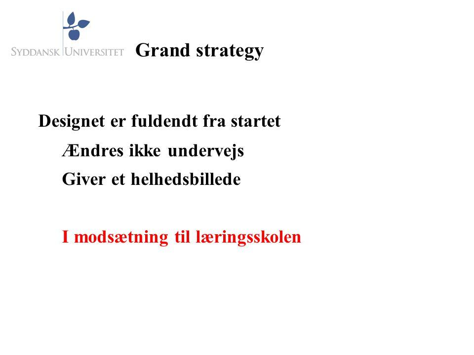 Grand strategy Designet er fuldendt fra startet Ændres ikke undervejs