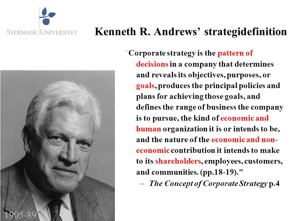 Kenneth R. Andrews' strategidefinition