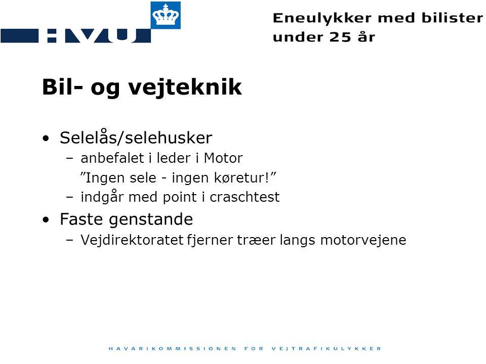 Bil- og vejteknik Selelås/selehusker Faste genstande