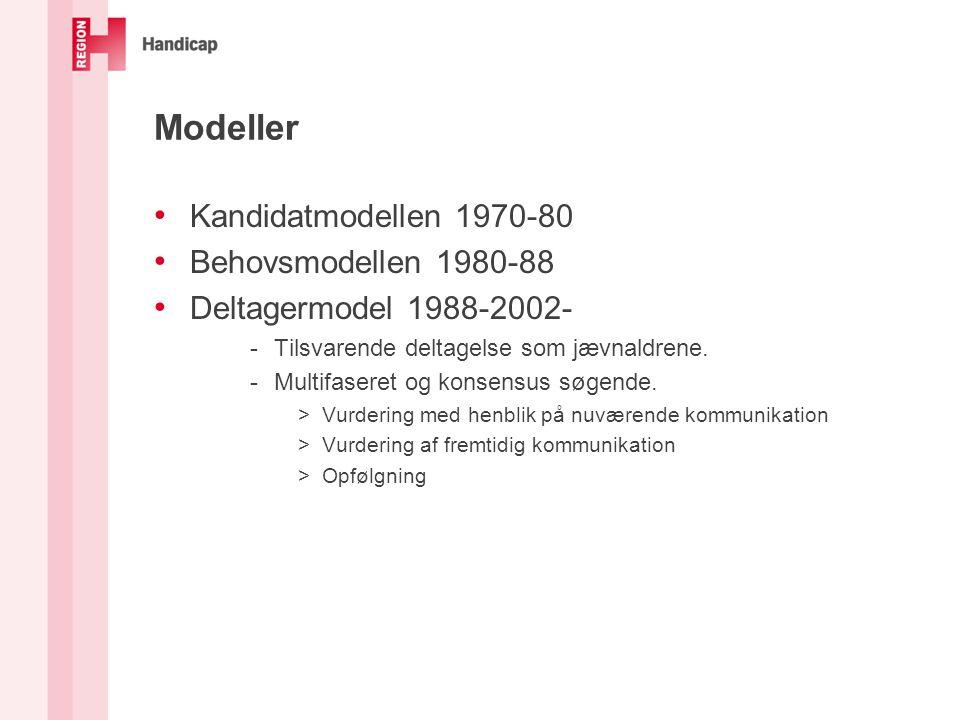 Modeller Kandidatmodellen 1970-80 Behovsmodellen 1980-88