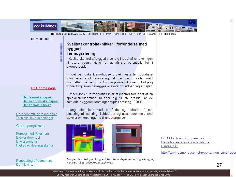 Kvalitetskontrolteknikker i forbindelse med byggeri Termografering