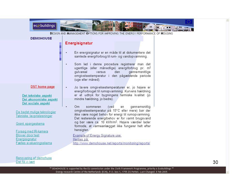 Energisignatur En energisignatur er en måde til at dokumentere det samlede energiforbrug til rum- og vandopvarmning.