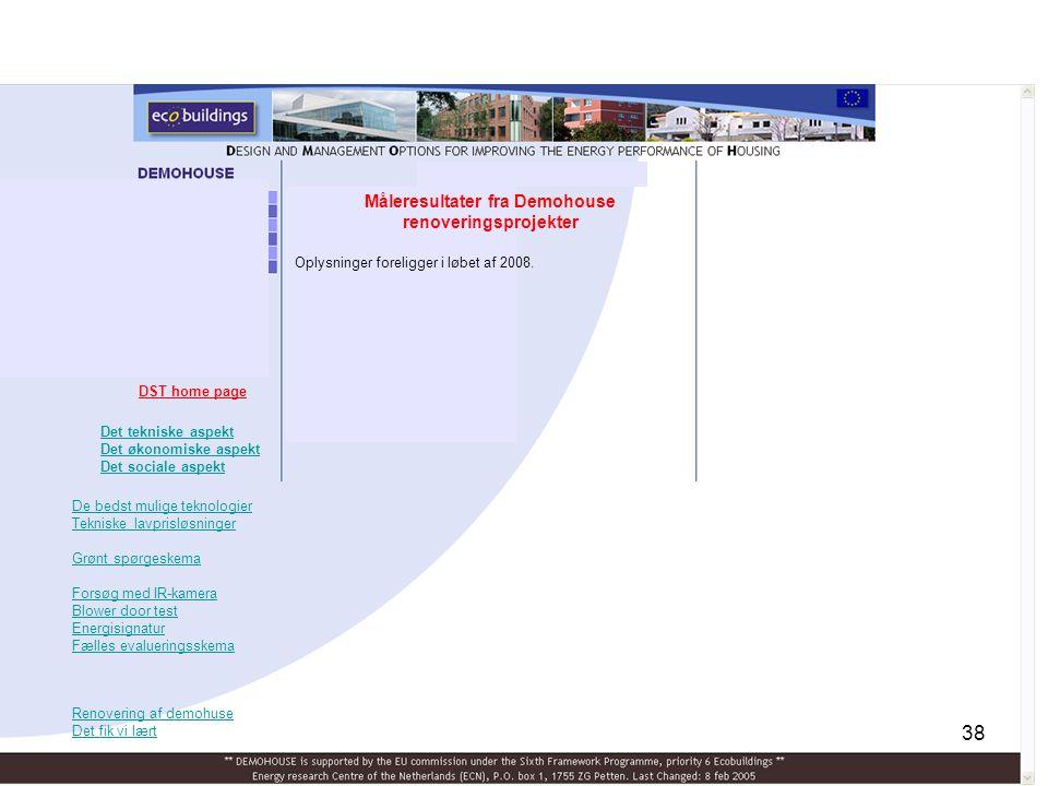 Måleresultater fra Demohouse renoveringsprojekter