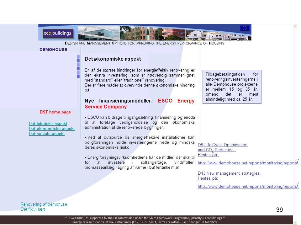 Nye finansieringsmodeller: ESCO Energy Service Company