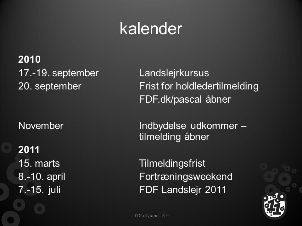 kalender 2010 17.-19. september Landslejrkursus