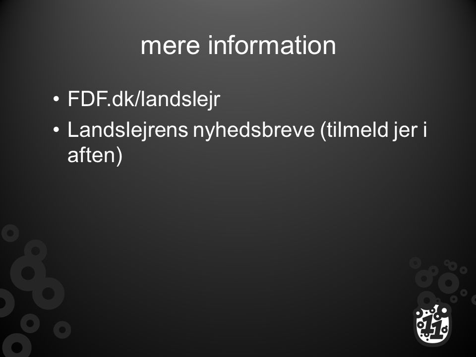 mere information FDF.dk/landslejr