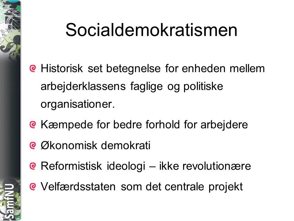 Socialdemokratismen Historisk set betegnelse for enheden mellem arbejderklassens faglige og politiske organisationer.