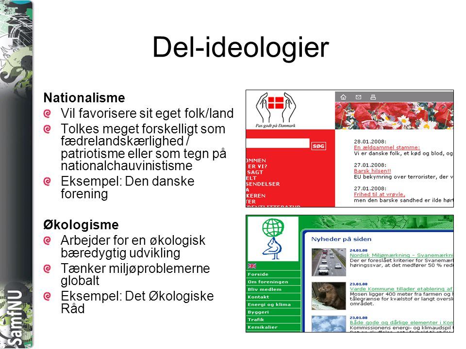 Del-ideologier Nationalisme Vil favorisere sit eget folk/land
