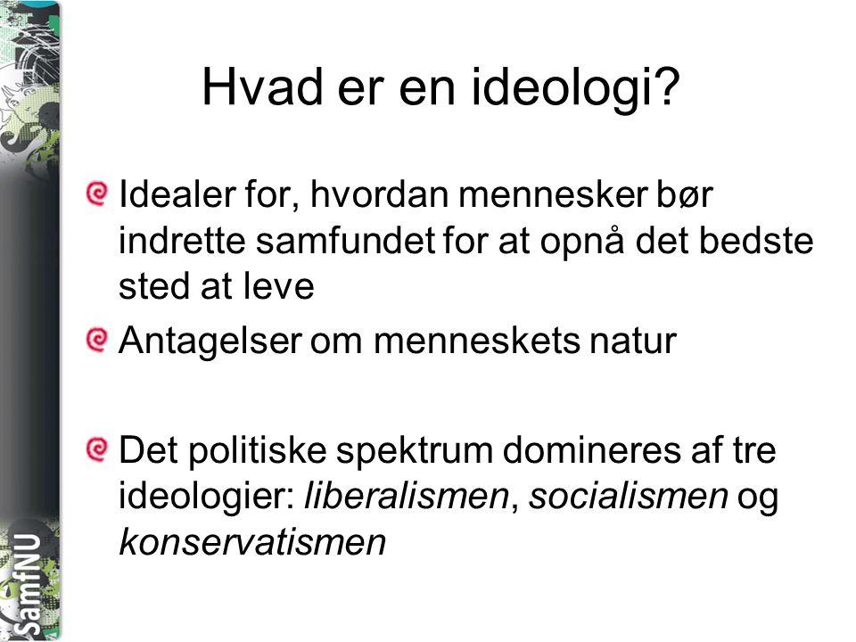 Hvad er en ideologi Idealer for, hvordan mennesker bør indrette samfundet for at opnå det bedste sted at leve.