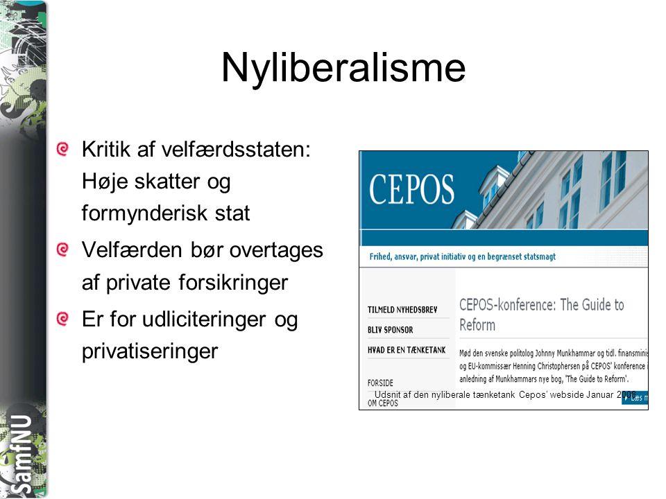 Nyliberalisme Kritik af velfærdsstaten: Høje skatter og formynderisk stat. Velfærden bør overtages af private forsikringer.