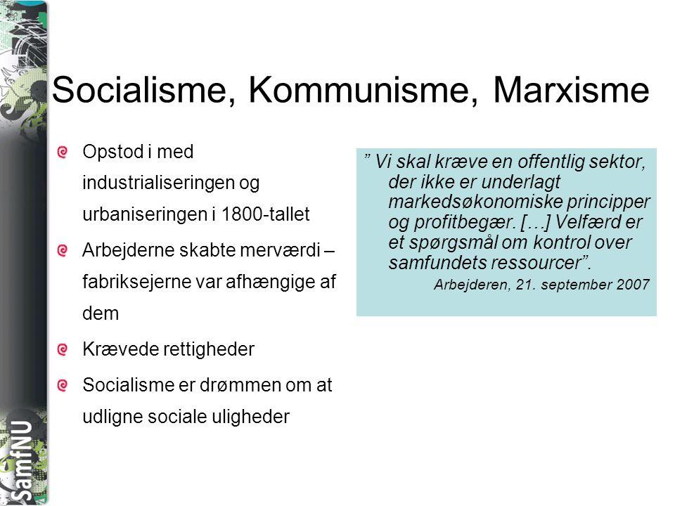 Socialisme, Kommunisme, Marxisme