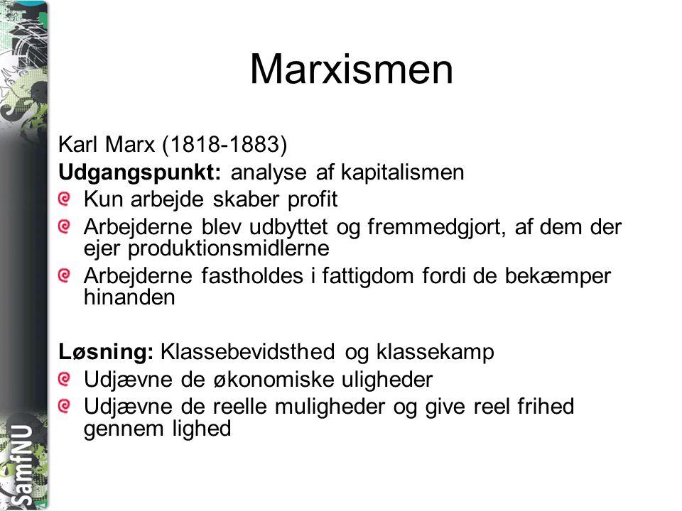 Marxismen Karl Marx (1818-1883) Udgangspunkt: analyse af kapitalismen