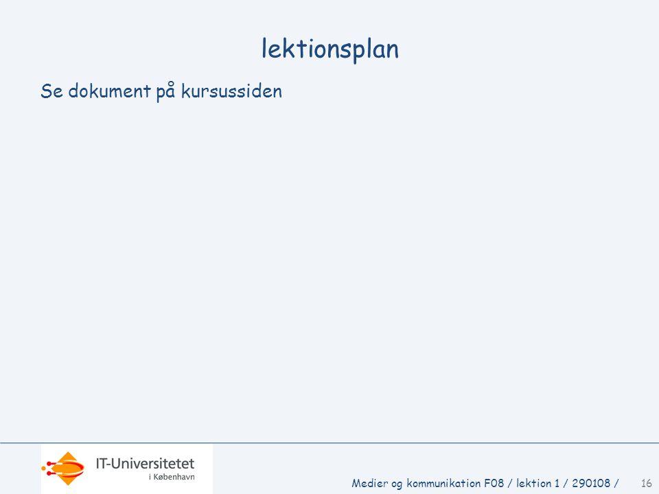 lektionsplan Se dokument på kursussiden