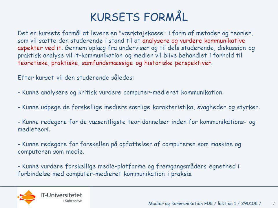 KURSETS FORMÅL