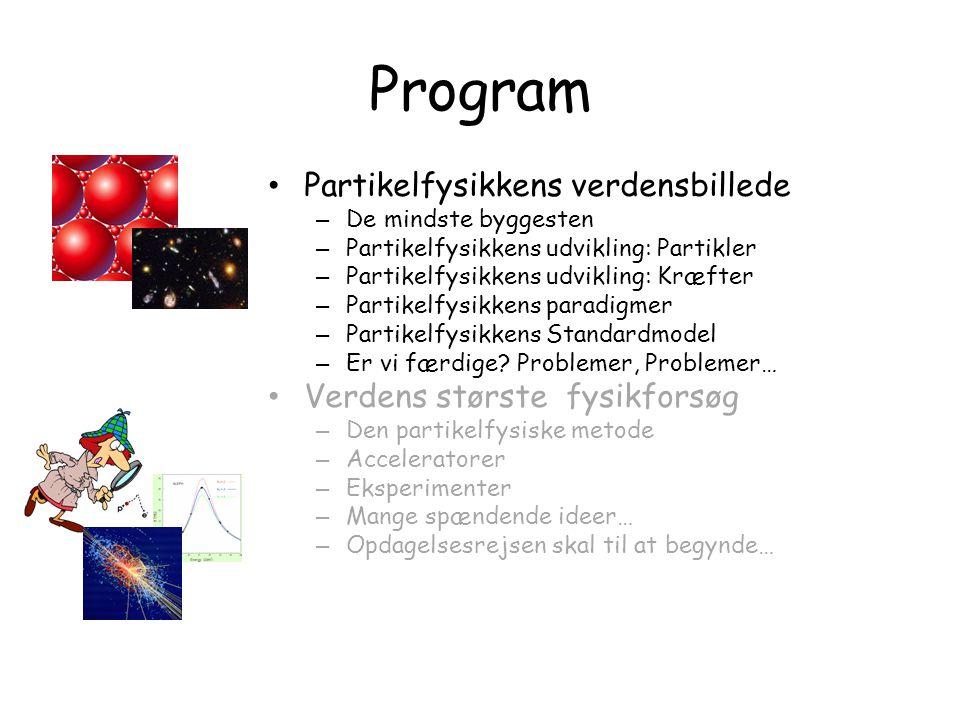 Program Partikelfysikkens verdensbillede Verdens største fysikforsøg