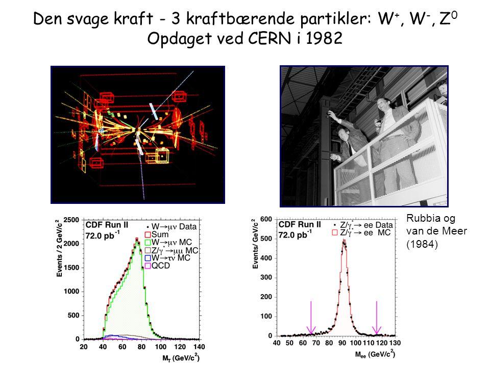 Den svage kraft - 3 kraftbærende partikler: W+, W-, Z0 Opdaget ved CERN i 1982