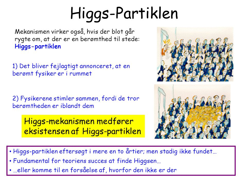 Higgs-Partiklen 1) Det bliver fejlagtigt annonceret, at en berømt fysiker er i rummet.