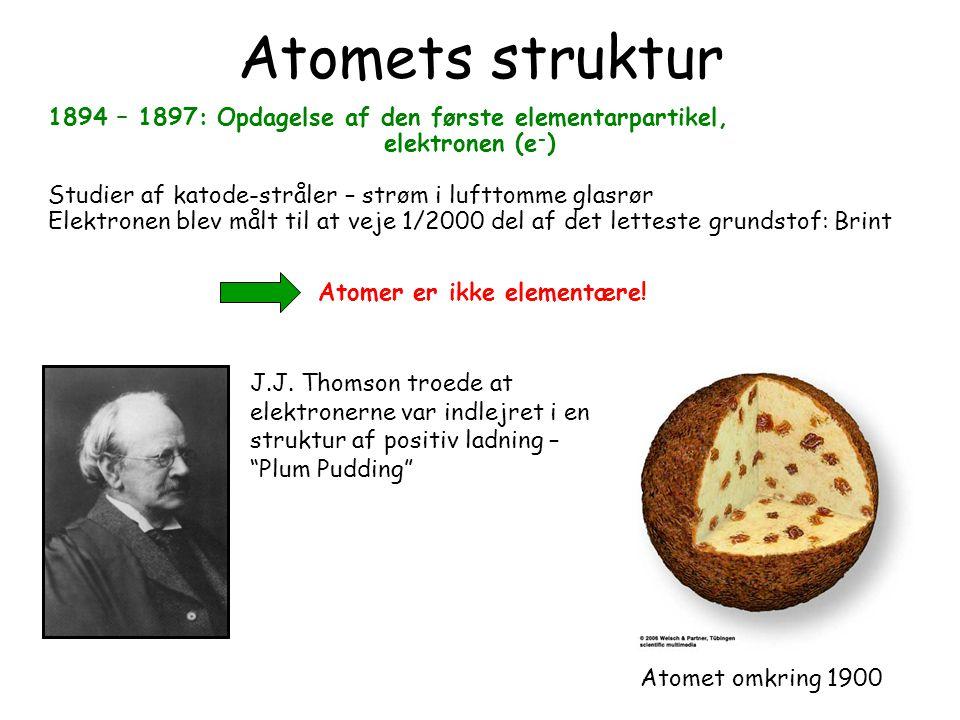 What is the matter 13 March 1998. Atomets struktur. 1894 – 1897: Opdagelse af den første elementarpartikel,