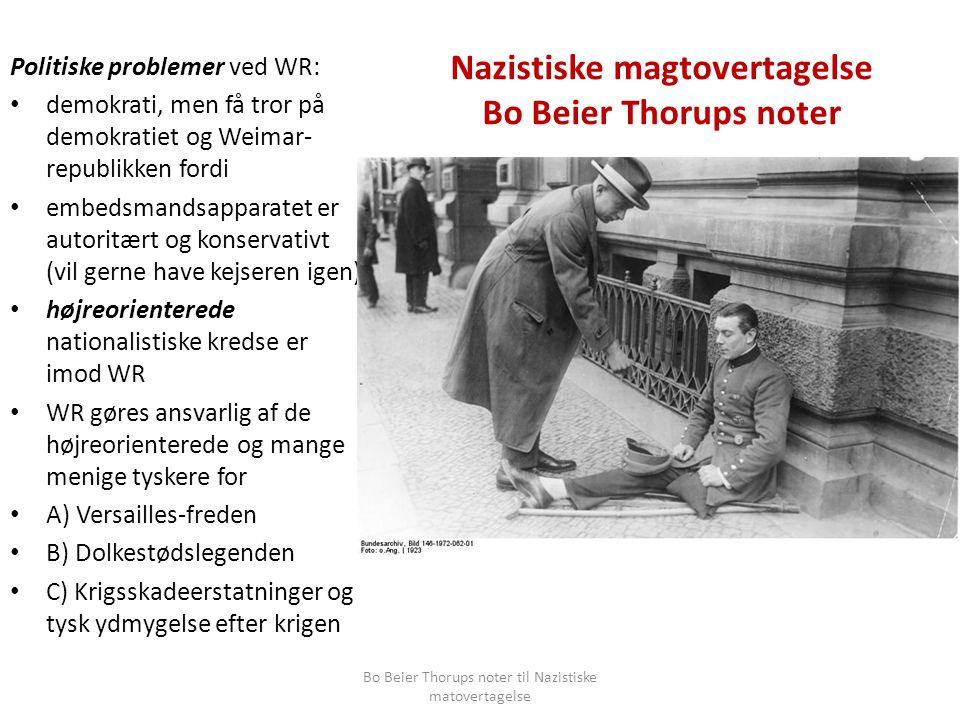 Nazistiske magtovertagelse Bo Beier Thorups noter