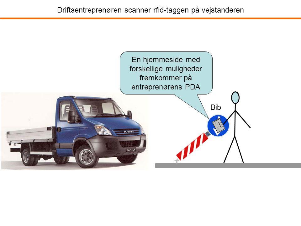 Driftsentreprenøren scanner rfid-taggen på vejstanderen