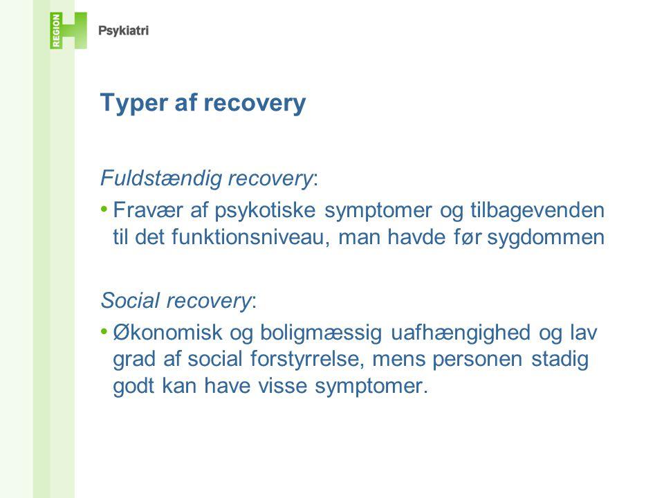 Typer af recovery Fuldstændig recovery: