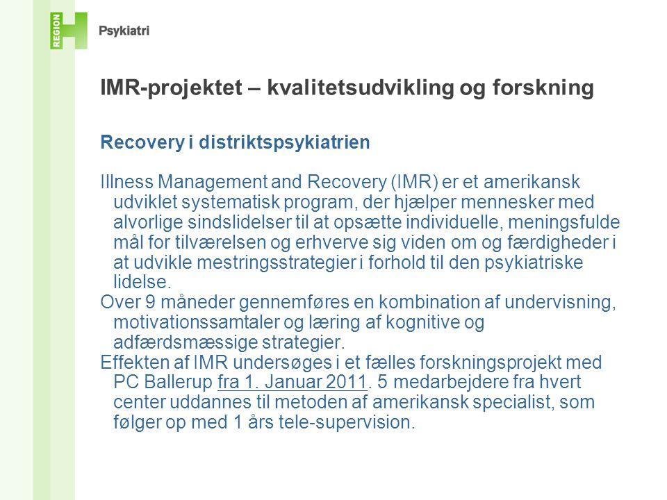 IMR-projektet – kvalitetsudvikling og forskning