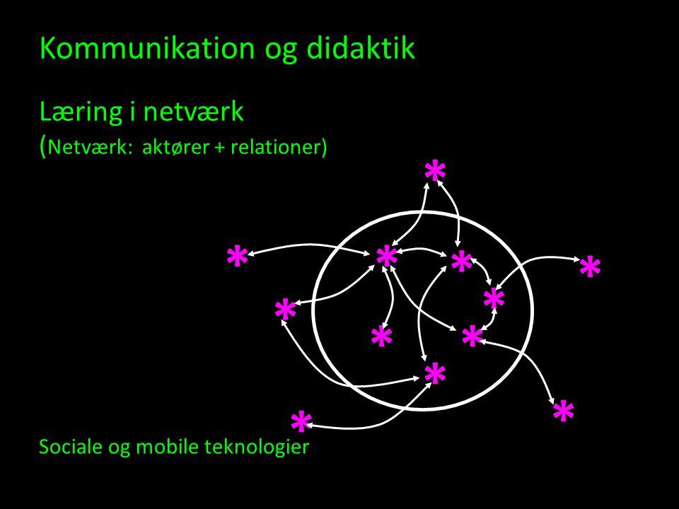 Kommunikation og didaktik Læring i netværk (Netværk: aktører + relationer) Sociale og mobile teknologier