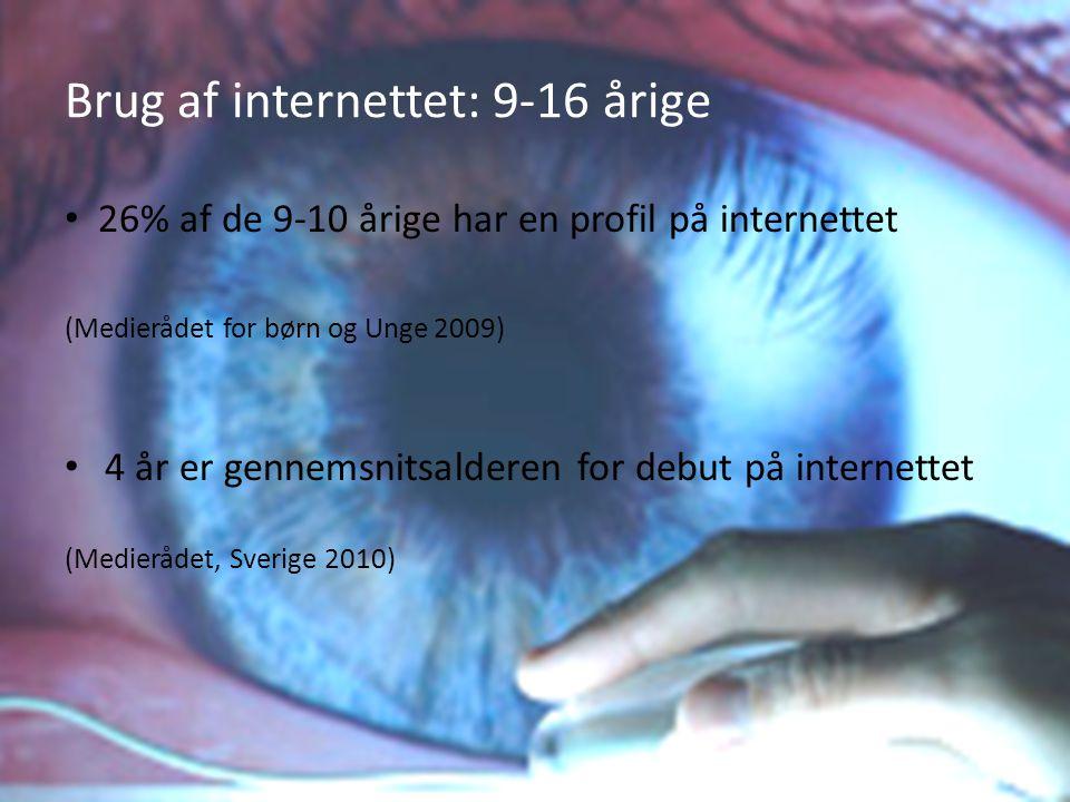 Brug af internettet: 9-16 årige
