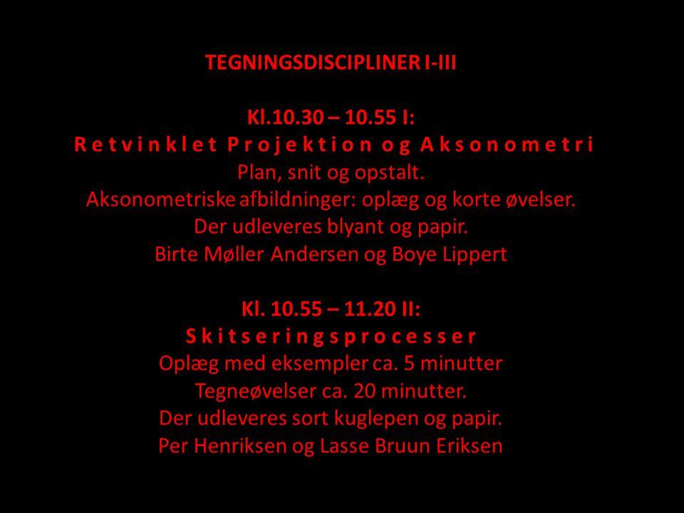 TEGNINGSDISCIPLINER I-III Kl.10.30 – 10.55 I: