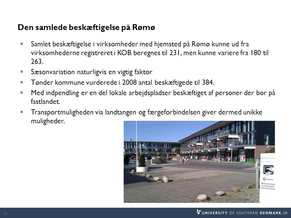 Den samlede beskæftigelse på Rømø